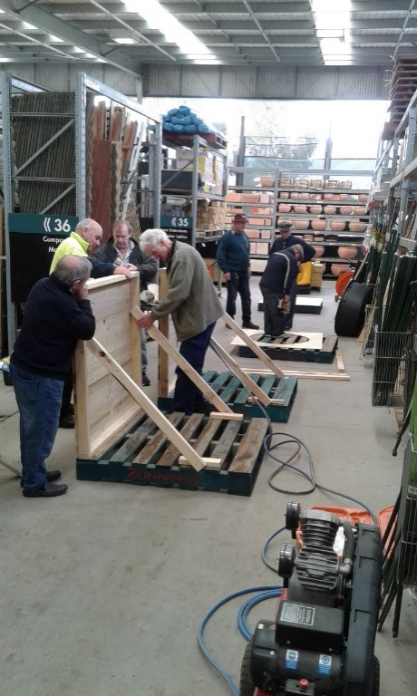 Making toy display at Bunnings
